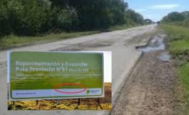 La Ruta 51 repavimentada por la Constructora Marcalba, vinculada a Cambiemos, ya está rota