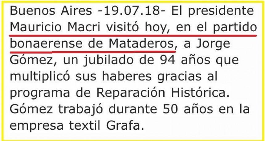 Macri considera a Mataderos como un partido bonaerense