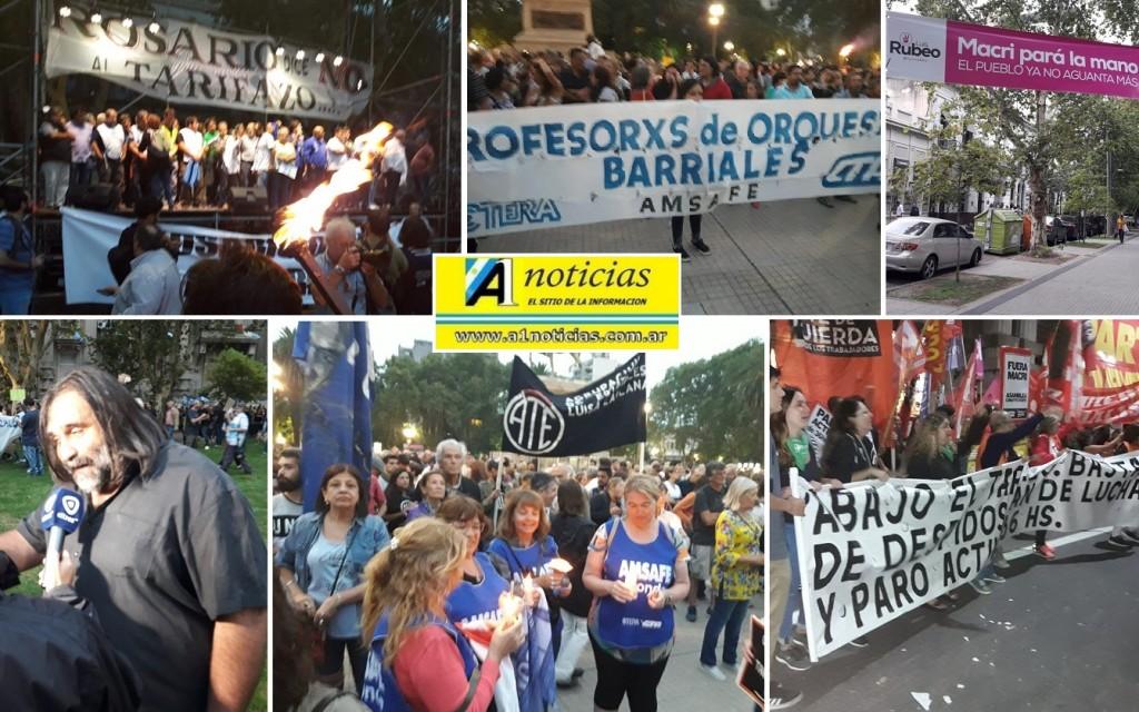 Rosario: 100 mil personas acompañaron la 2ª marcha de antorchas contra el tarifazo