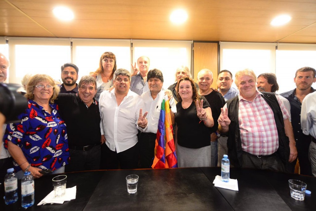 Pablo Moyano recibió al presidente de Bolivia Evo Morales en la CGT