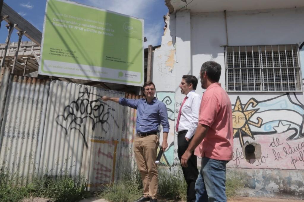 Morón: El ministro de Educación constató el abandono de las obras en escuelas públicas