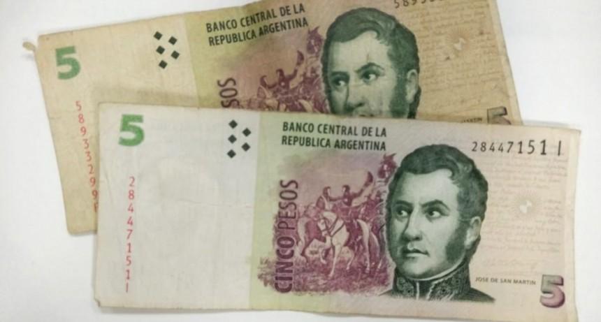 Los billetes de 5 pesos no se podrán utilizar más a partir del 1° de febrero