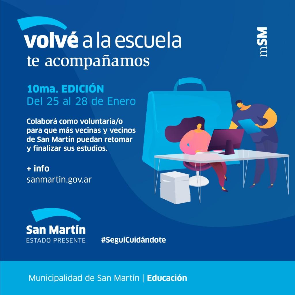 San Martín: Se viene la décima edición del Programa Volvé a la Escuela