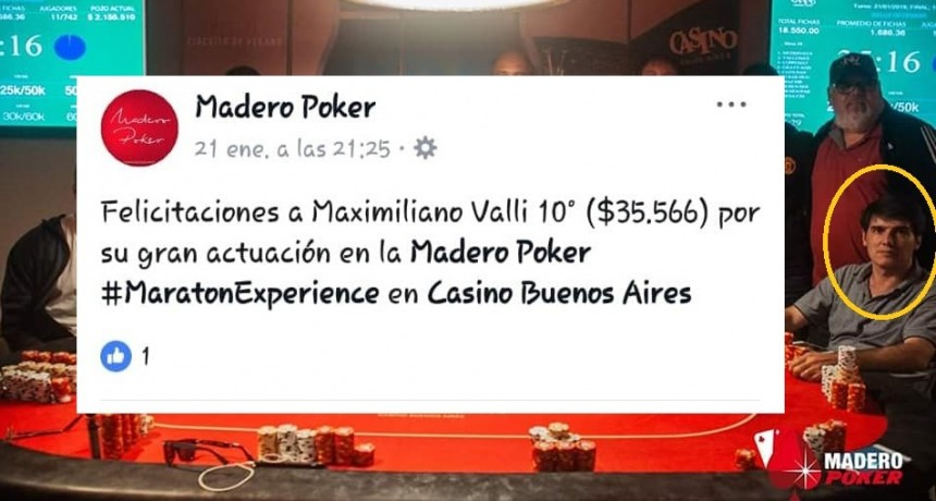 Gral. Rodríguez: Funcionario de Kubar se la juega toda en las mesas de póker