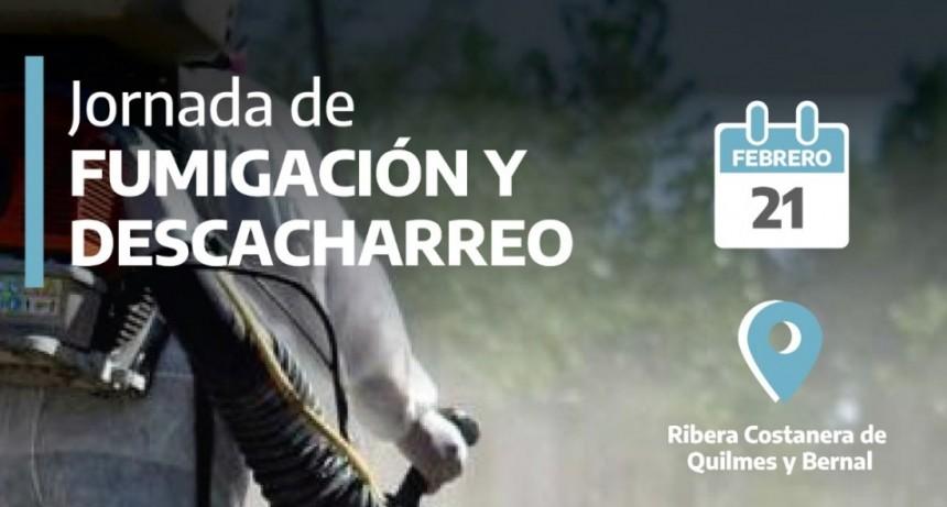 Quilmes: Operativo de fumigación y descacharreo en la costanera