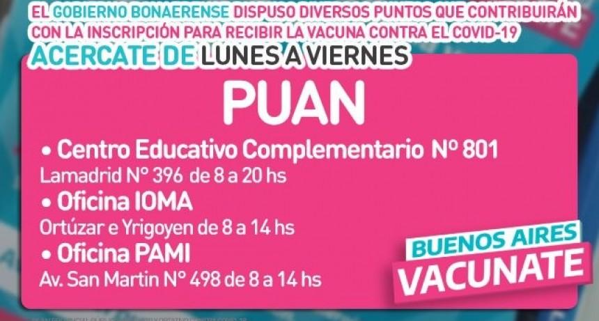 Puan: organismos públicos para la inscripción presencial al plan provincial de vacunación