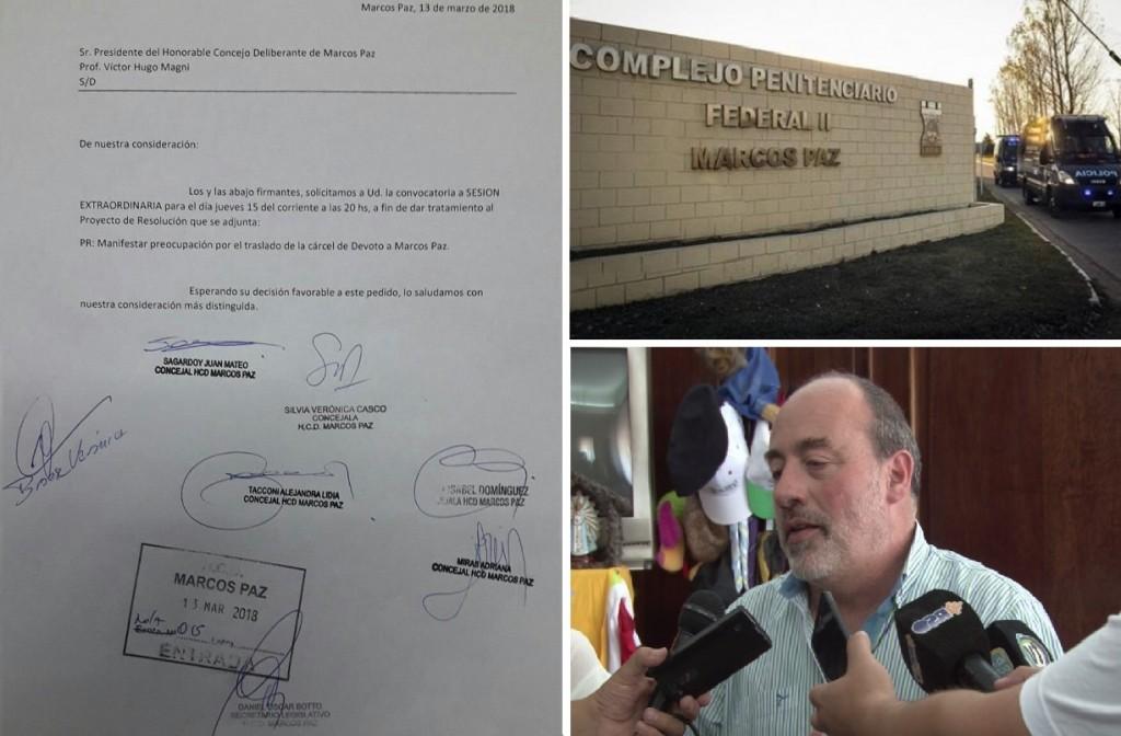 Marcos Paz: Curutchet y concejales rechazan el traslado de la cárcel de Devoto