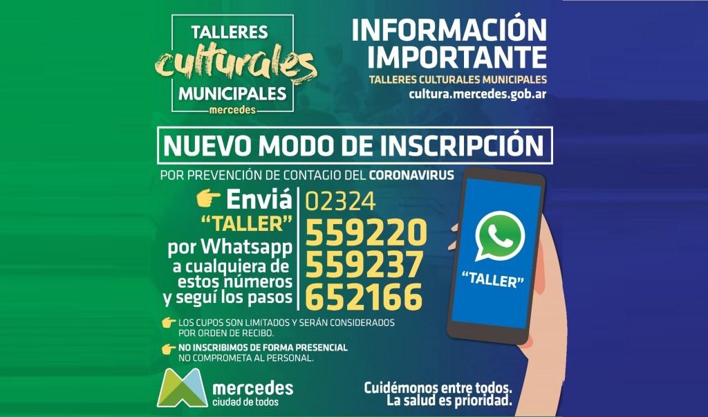 Mercedes: Por medidas preventivas la inscripción a los talleres culturales se realiza por WhatsApp