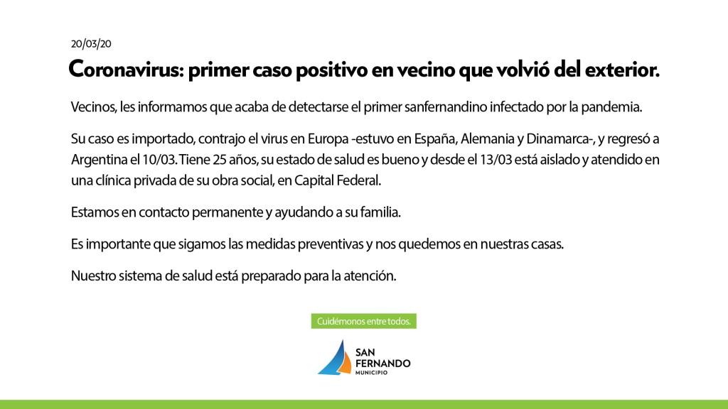 San Fernando: Se detectó el primer caso positivo de un vecino que volvió del exterior con Coronavirus