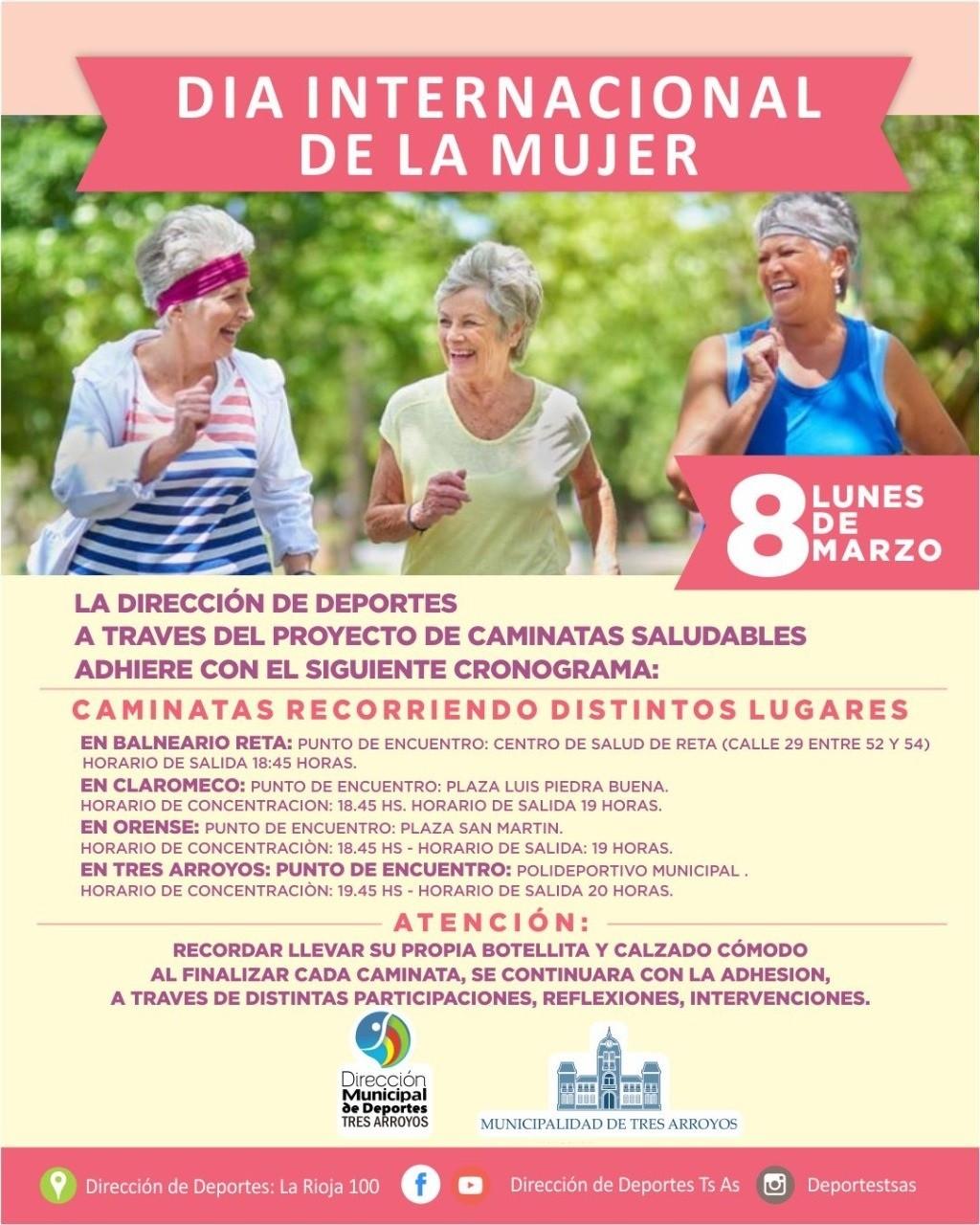 Tres Arroyos: Jornada especial de caminatas por el Día Internacional de la Mujer