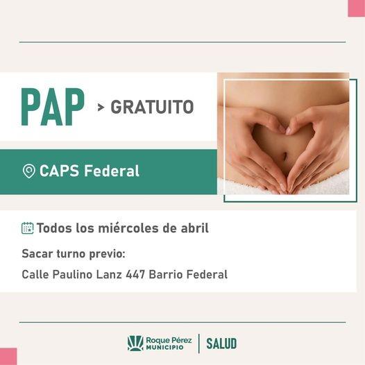 Roque Pérez: PAP gratuito en el CAPS del Barrio Federal