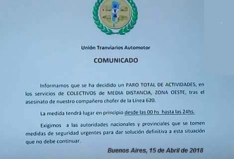 URGENTE: La UTA anunció un paro de colectivos en zona Oeste