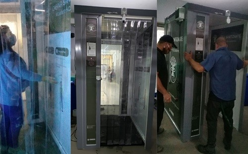 Marcos Paz: Curutchet puso en funcionamiento nuevas cabinas sanitizantes en las entradas del Hospital