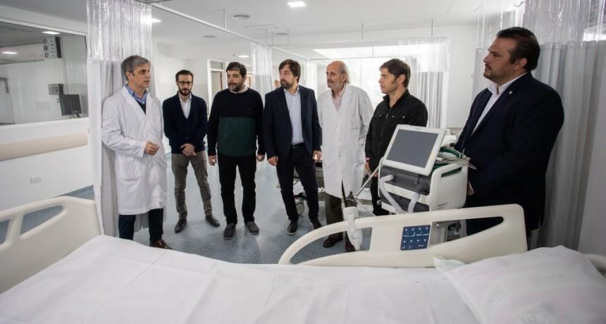 Fernando Moreira y Kicillof recorrieron la nueva Unidad de Terapia Intensiva del Hospital Provincial Eva Perón