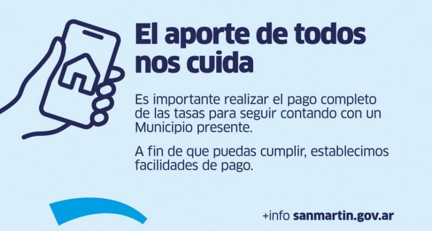 San Martín: Nuevas facilidades de pago para las tasas Municipales