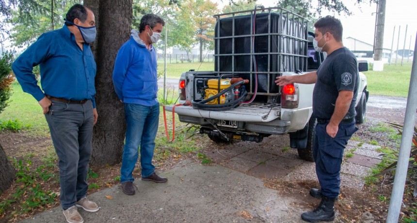 Junín: Donan una motobomba a la Policía Ecológica para las tareas de desinfección