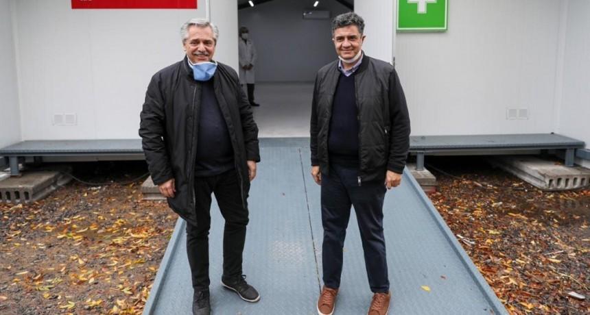 Jorge Macri y Alberto Fernández recorrieron la finalización de obras del Hospital de Campaña en Campo 1