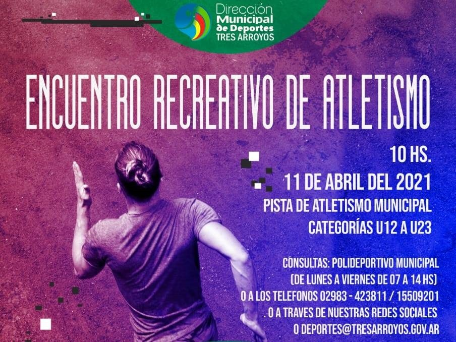 Tres Arroyos: Encuentro recreativo de atletismo