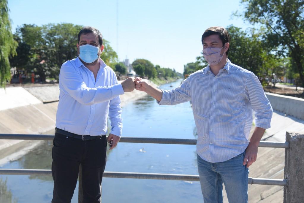 San Martín: Fernando Moreira y Federico Thea recorrieron distintas obras del Plan de Urbanización del Área Reconquista