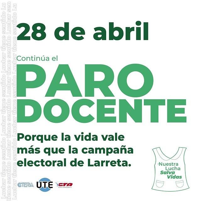 """UTE realizara un Paro Docente hoy, """"nuestra lucha salva vidas"""""""