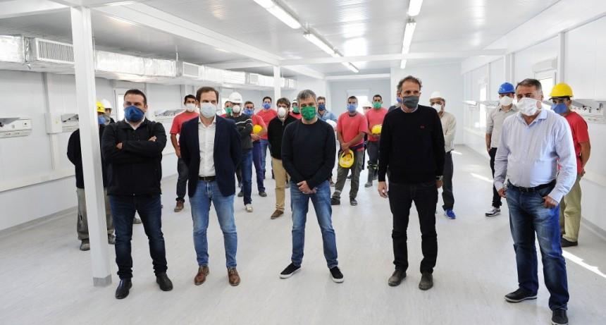 Zabaleta y Katopodis recorrieron el final de obra del Hospital Modular de Emergencia de Hurlingham