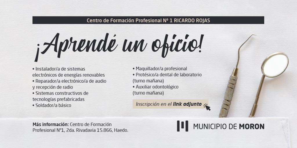 Morón: El Municipio reabre la preinscripción a los cursos de Centro de Formación Profesional