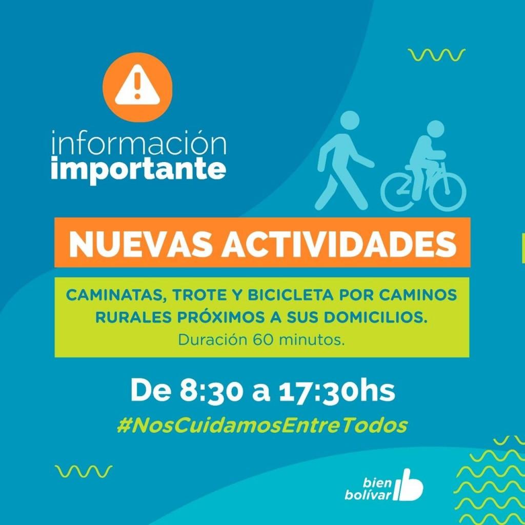 Caminatas, trotes y salidas en bicicletas son las nuevas actividades en el partido de Bolívar