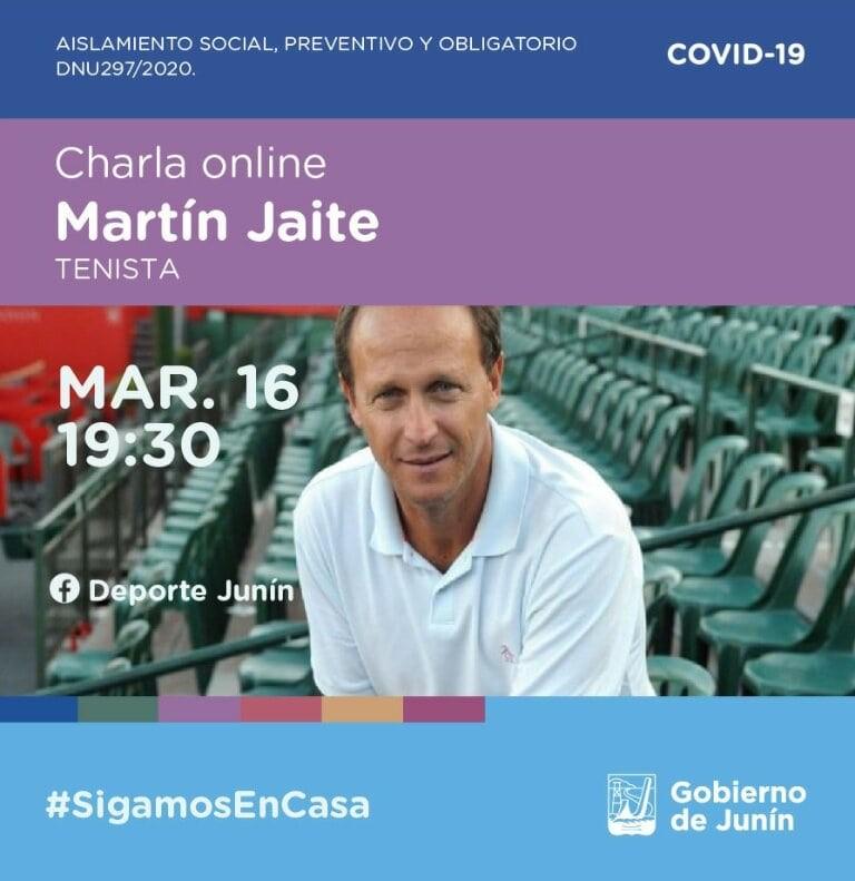 Junín: Charla virtual con el tenista internacional Martín Jaite