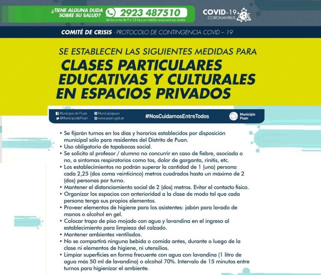 Puan: Habilitan las clases particulares educativas en espacios cerrados y actividades al aire libre