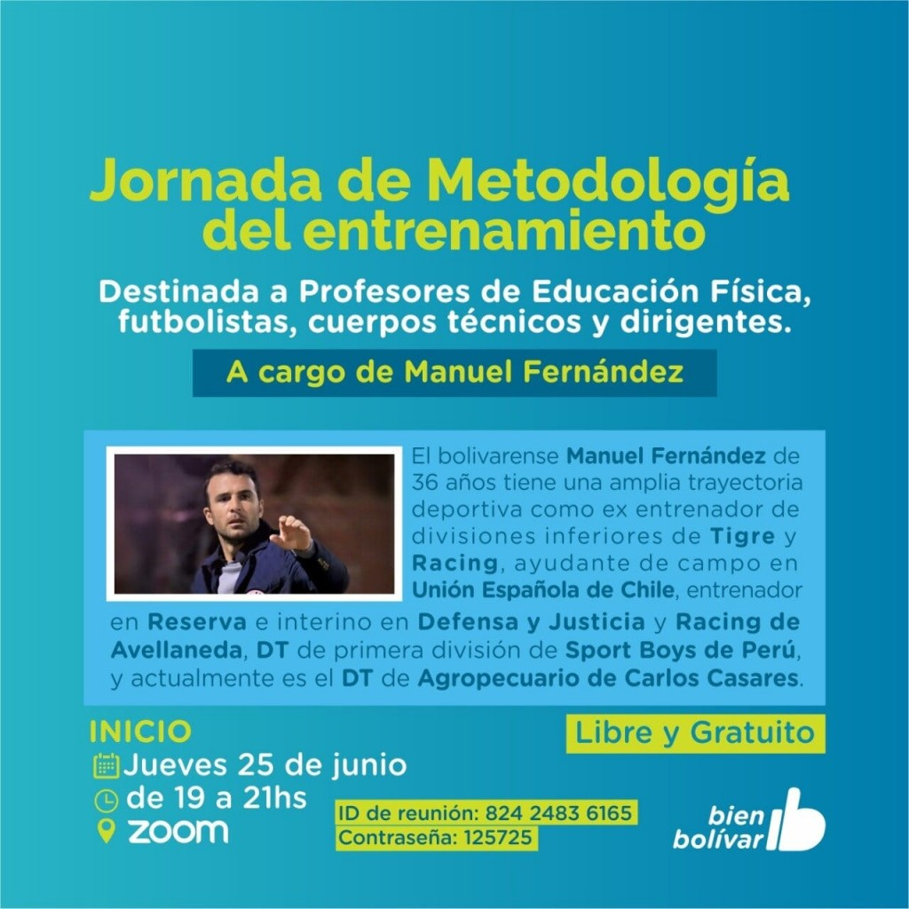 Bolívar: La municipalidad ofrece una jornada gratuita de metodología del entrenamiento
