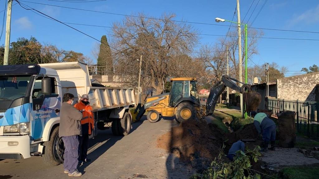 Campana: El Municipio realizó un recambio de caños de desagüe en La Josefa