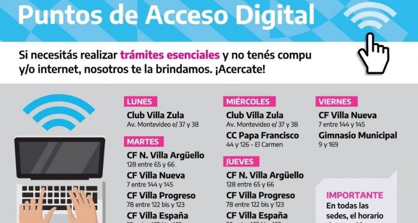 """Berisso: La municipalidad habilita """"Puntos de acceso digital"""", de manera libre y gratuitos"""