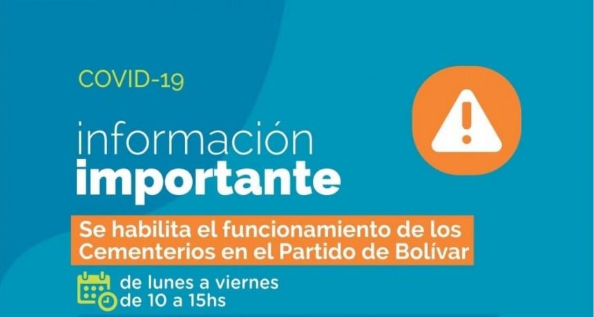 Bolívar: Se habilita el funcionamiento de los cementerios