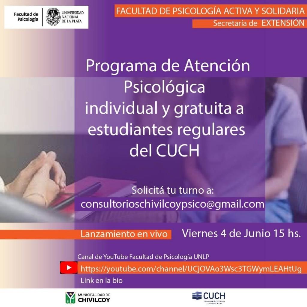"""Chivilcoy: Lanzamiento del programa de extensión """"Consultorios de atención psicológica individual y gratuita para alumnos regulares del CUCH"""""""