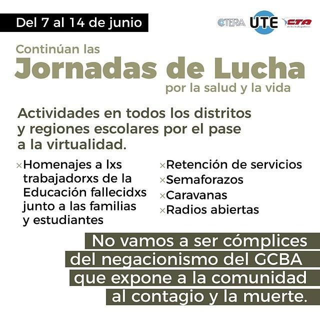 UTE: Del 7 al 14 de junio Continúan las Jornadas de lucha por la salud y la vida