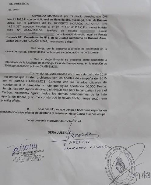 """""""Aportes truchos"""": Osvaldo Marasco presentó una denuncia ante la Justicia Federal"""