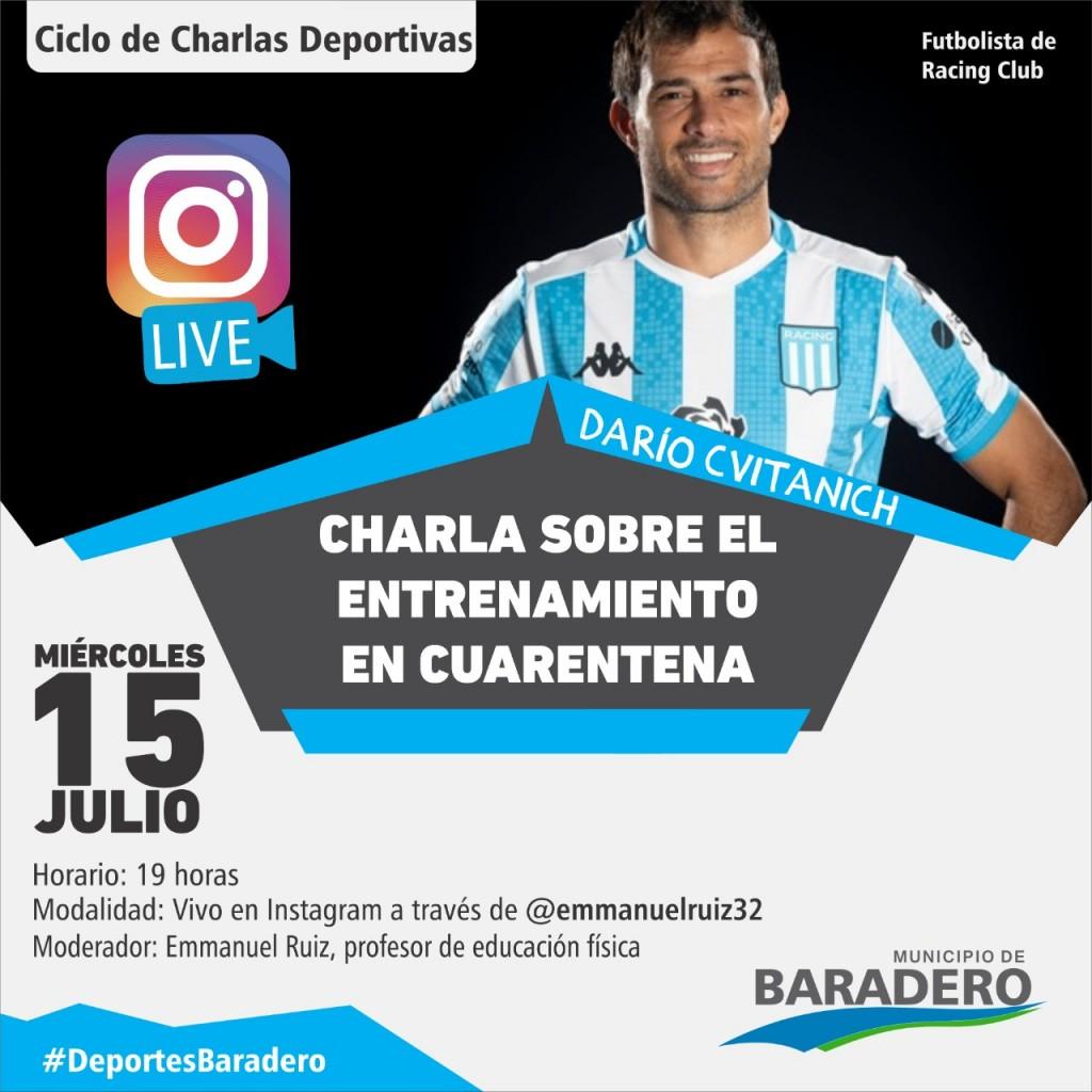 Baradero: Ciclo de Charlas Deportivas, El entrenamiento en cuarentena junto a Darío Cvitanich