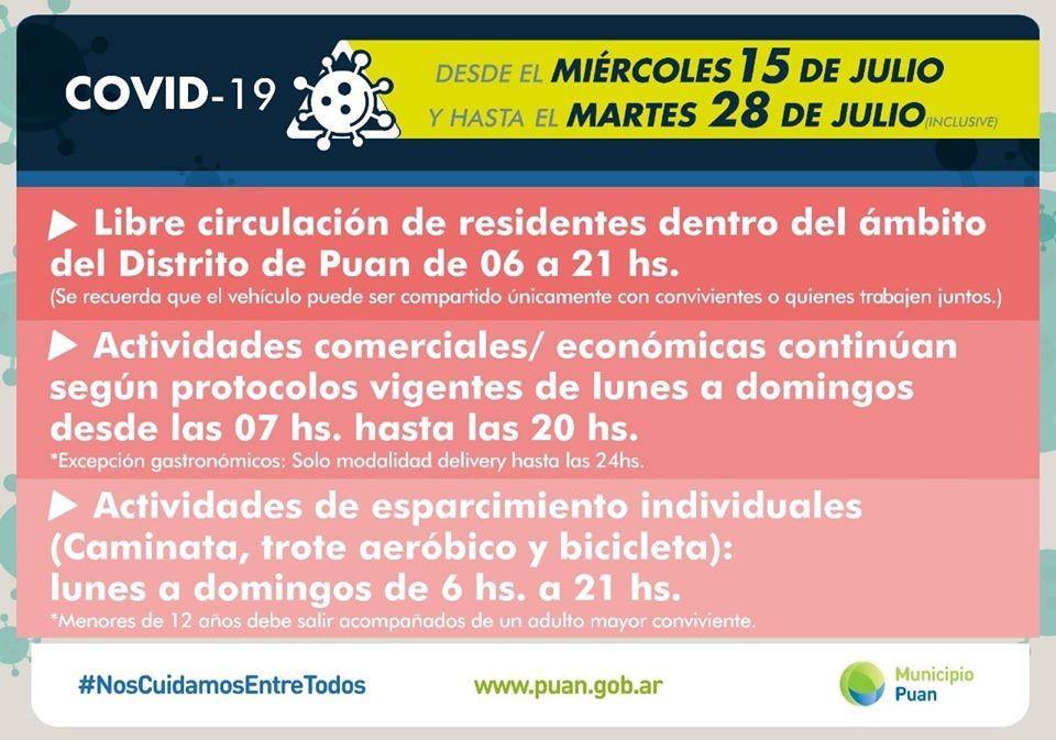 Puan: Anuncian nuevas medidas que se aplicarán desde el 15 hasta el 28 de julio