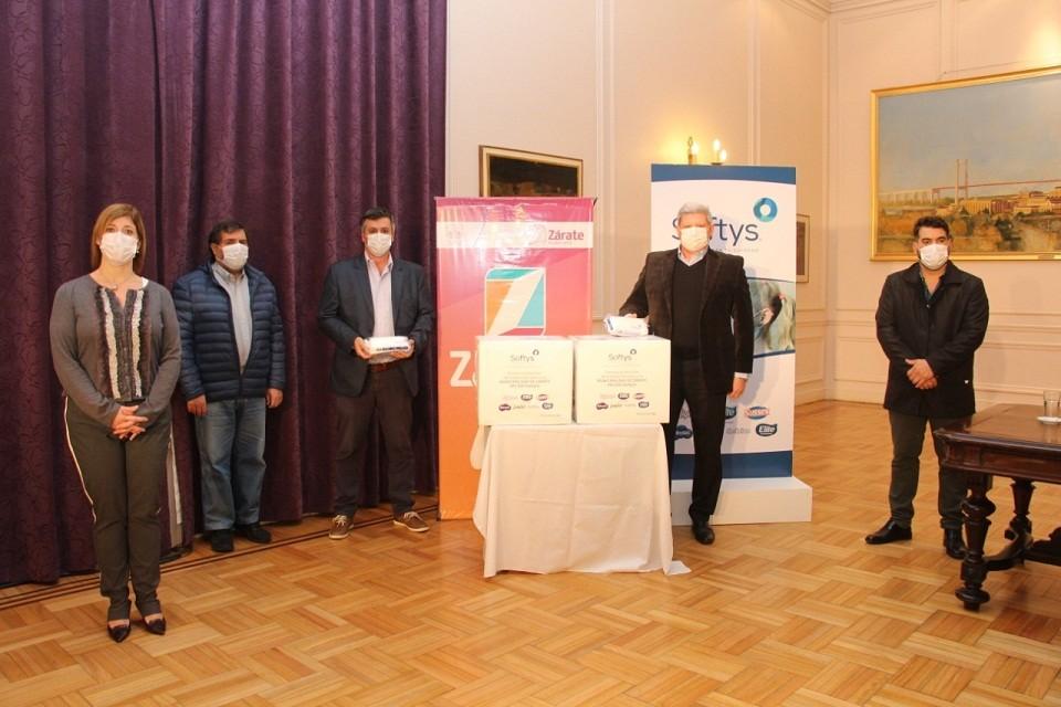 Zárate: La empresa Softys Argentina donó al municipio 400.000 barbijos tipo quirúrgicos