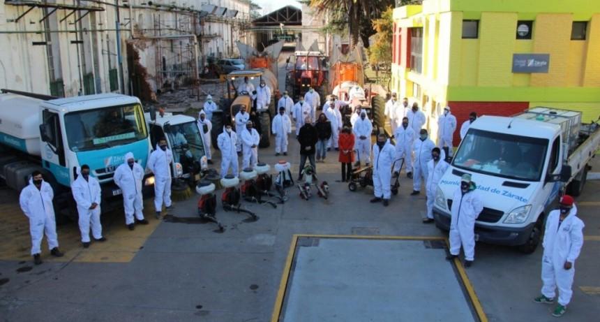 Zárate: No se detiene la fuerte presencia de un histórico Programa de Higiene y Desinfección en Espacios y Vía Pública
