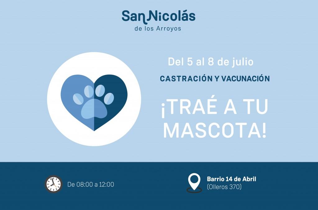 San Nicolás: El tráiler de castración y vacunación estará en Barrio 14 de Abril