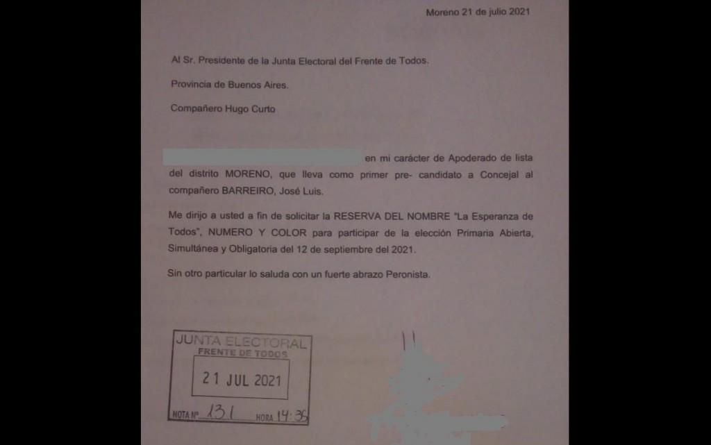 Moreno: La Junta Electoral del FdT aceptó la inscripción de la lista de La Esperanza de Todos