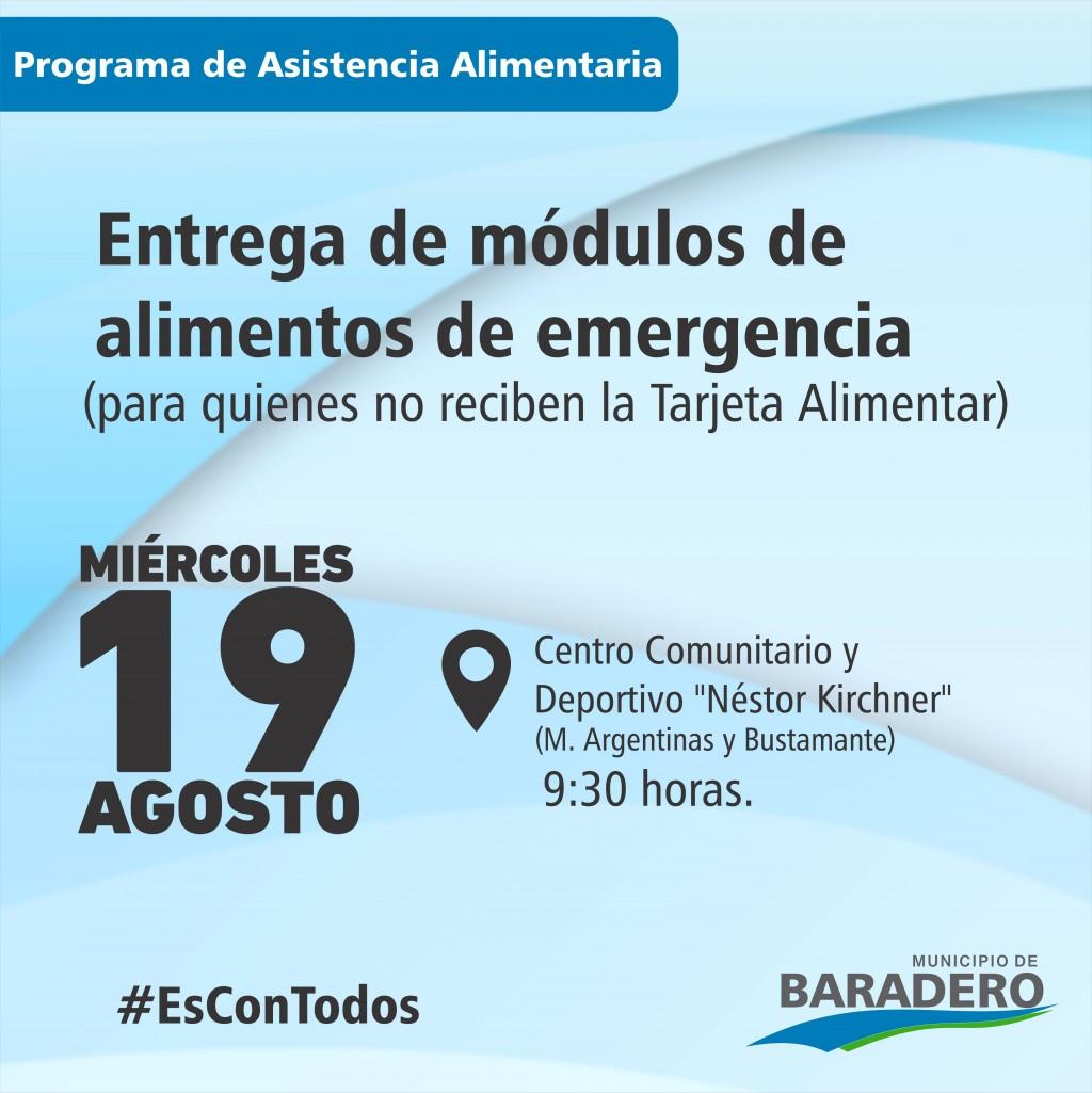 """Baradero: Entrega de módulos de alimentos en el Centro Cultural y Deportivo """"Néstor Kirchner"""""""