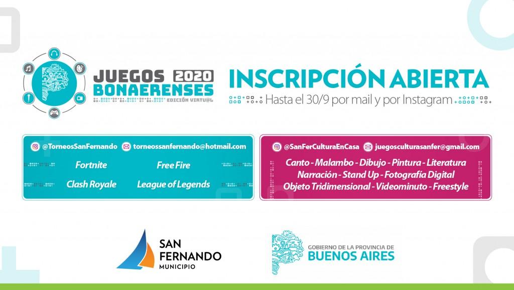 San Fernando: Inició la inscripción a las disciplinas culturales en la edición virtual de los Juegos BA 2020