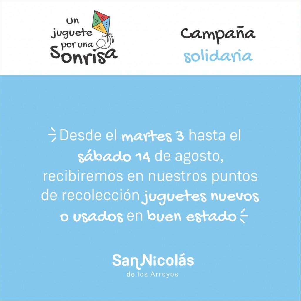 """San Nicolás: La Municipalidad impulsa la campaña solidaria """"Un juguete por una sonrisa"""""""