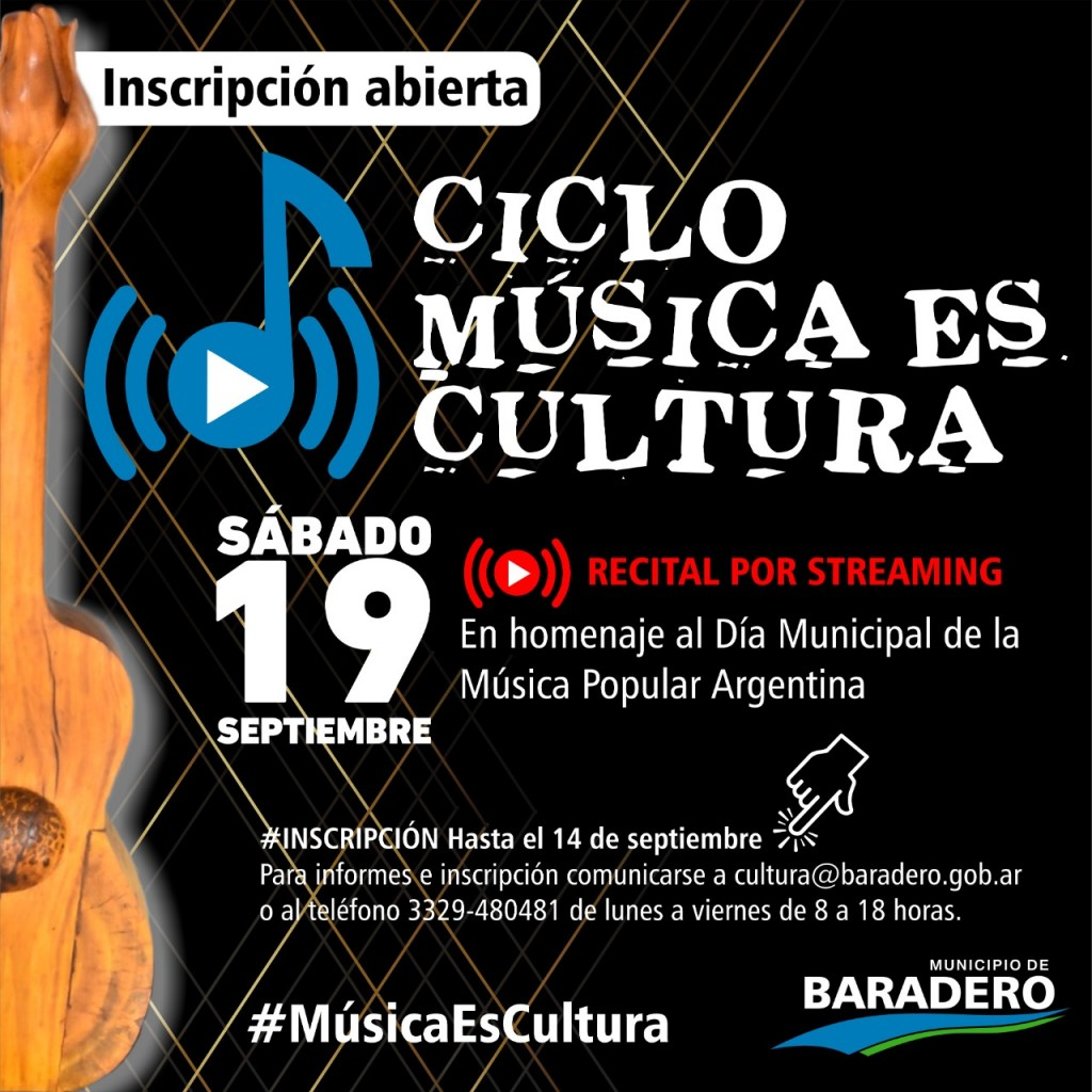 Baradero: Ciclo de Música es Cultura, el concierto online que propone el municipio