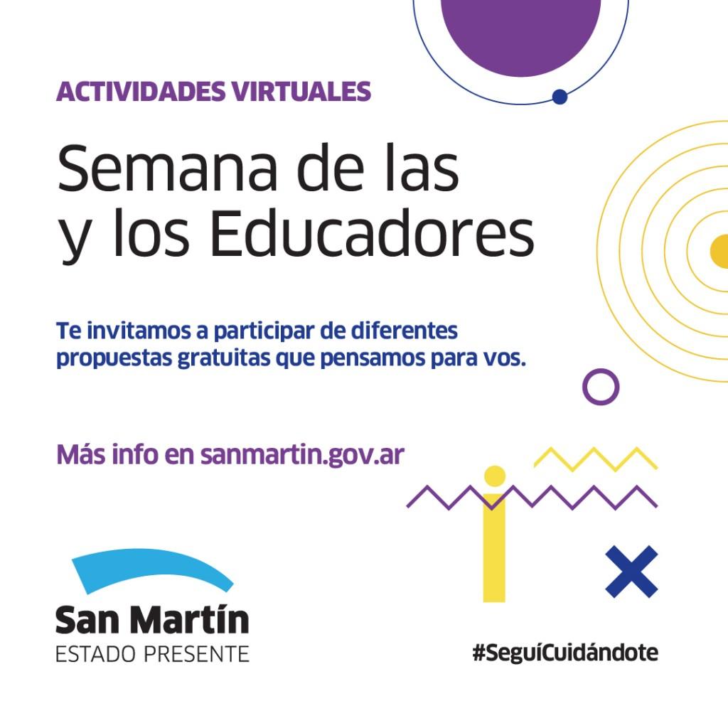 San Martín celebra la Semana de las y los Educadores con actividades virtuales
