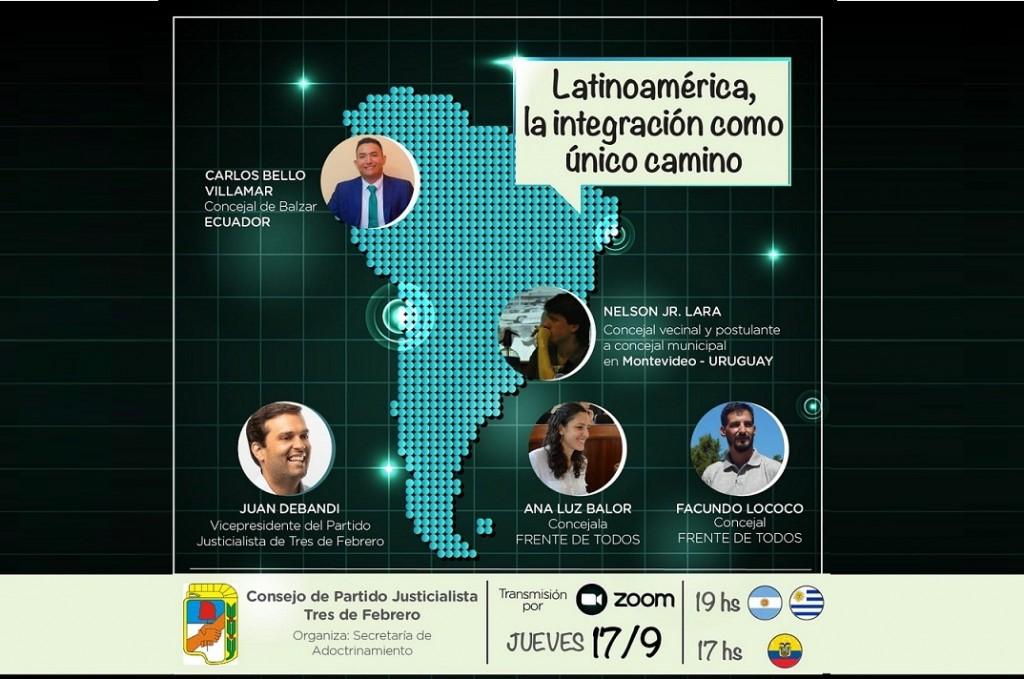 """Tres de Febrero: El PJ organiza la charla virtual: """"Latinoamérica, la integración como único camino"""""""