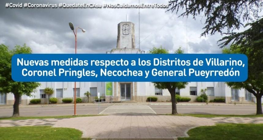 Puan: Nuevas medidas respecto a los Distritos de Villarino, Cnel. Pringles, Necochea y Mar del Plata