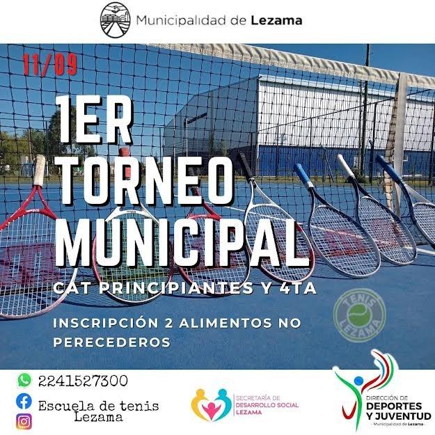 Lezama: Se realizará el Primer Torneo Municipal de Tenis y un encuentro regional de categorías menores